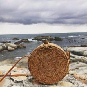 Natural Woven Round Shoulder Bag